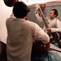 Ravi Shankar in his dressing room on tour in Japan